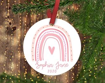 Rainbow Christmas Ornament.Pink Rainbow Ornament.Little Girls Ornament.Personalized christmas ornament.Baby's first Christmas