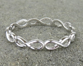 Silver Infinity Eternity Stacking Ring