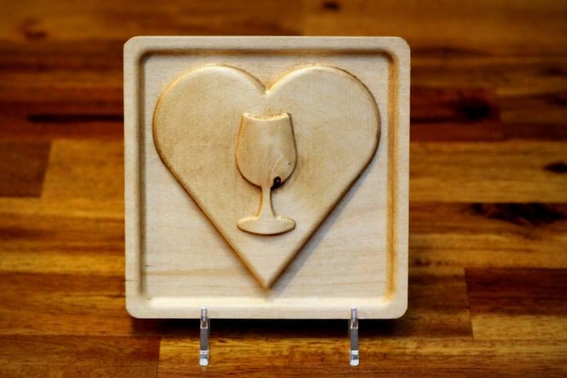 I Heart Wine Emoji 5 Hardwood image 0