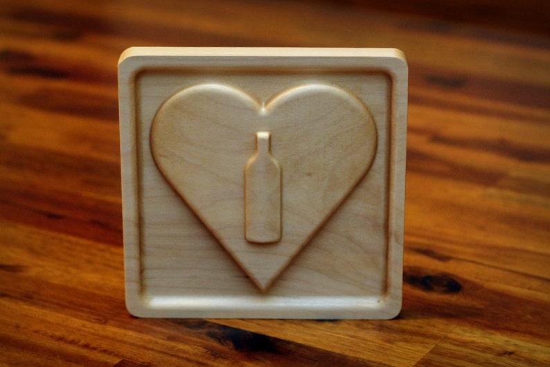 Wooden I Heart Wine Emoji 5 Bottle image 0
