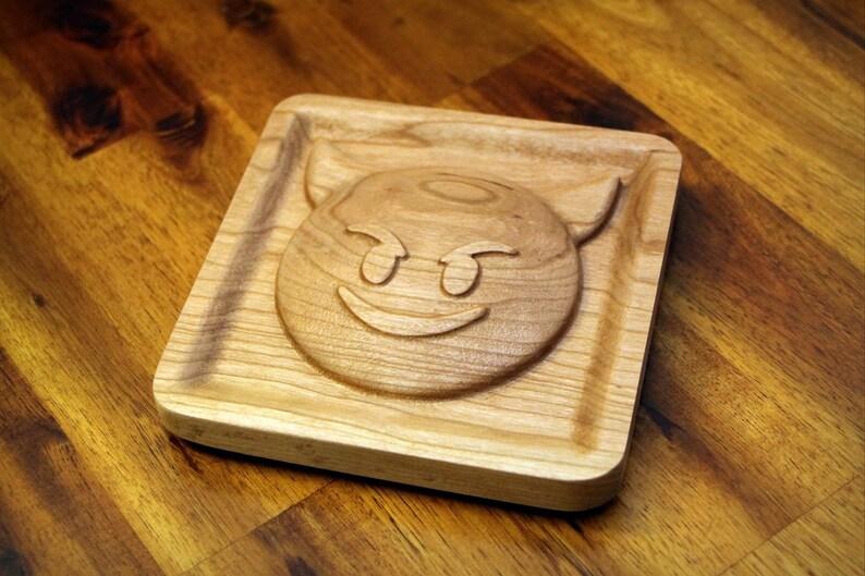 Wooden Smiling Devil Imp Emoji 5.0 image 0