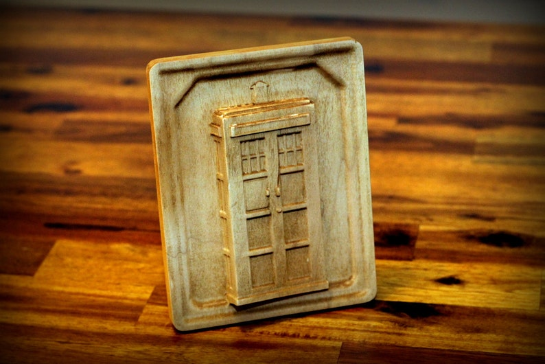 Hardwood Maple Tardis Carving 6 image 0