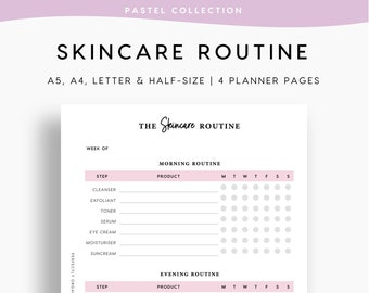 PRINTABLE Skincare Routine   Skincare Tracker, Self Care Planner, Morning Routine, Night Routine, Beauty, Pastel, A5 Half-size A4 Letter