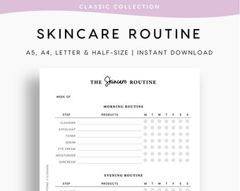 PRINTABLE Skincare Routine   Skincare Tracker, Self Care Planner, Morning Routine, Night Routine, Beauty Journal, A5 Half-size A4 Letter