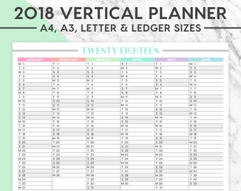 New! 2018 VERTICAL WALL PLANNER Printable | A4, A3, Letter, Ledger,  2018 Planner, Instant Download