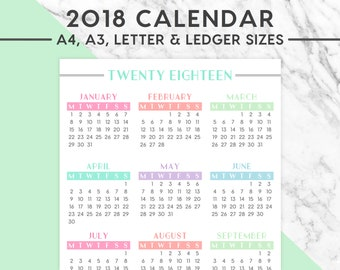 New! 2018 VERTICAL WALL CALENDAR  | Pastel, A4, A3, Letter, Ledger,  2018 Planner, Instant Download