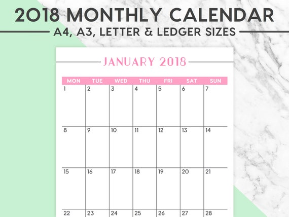 Neu 2018 MONATSKALENDER Pastell 2018 Planer 2018   Etsy