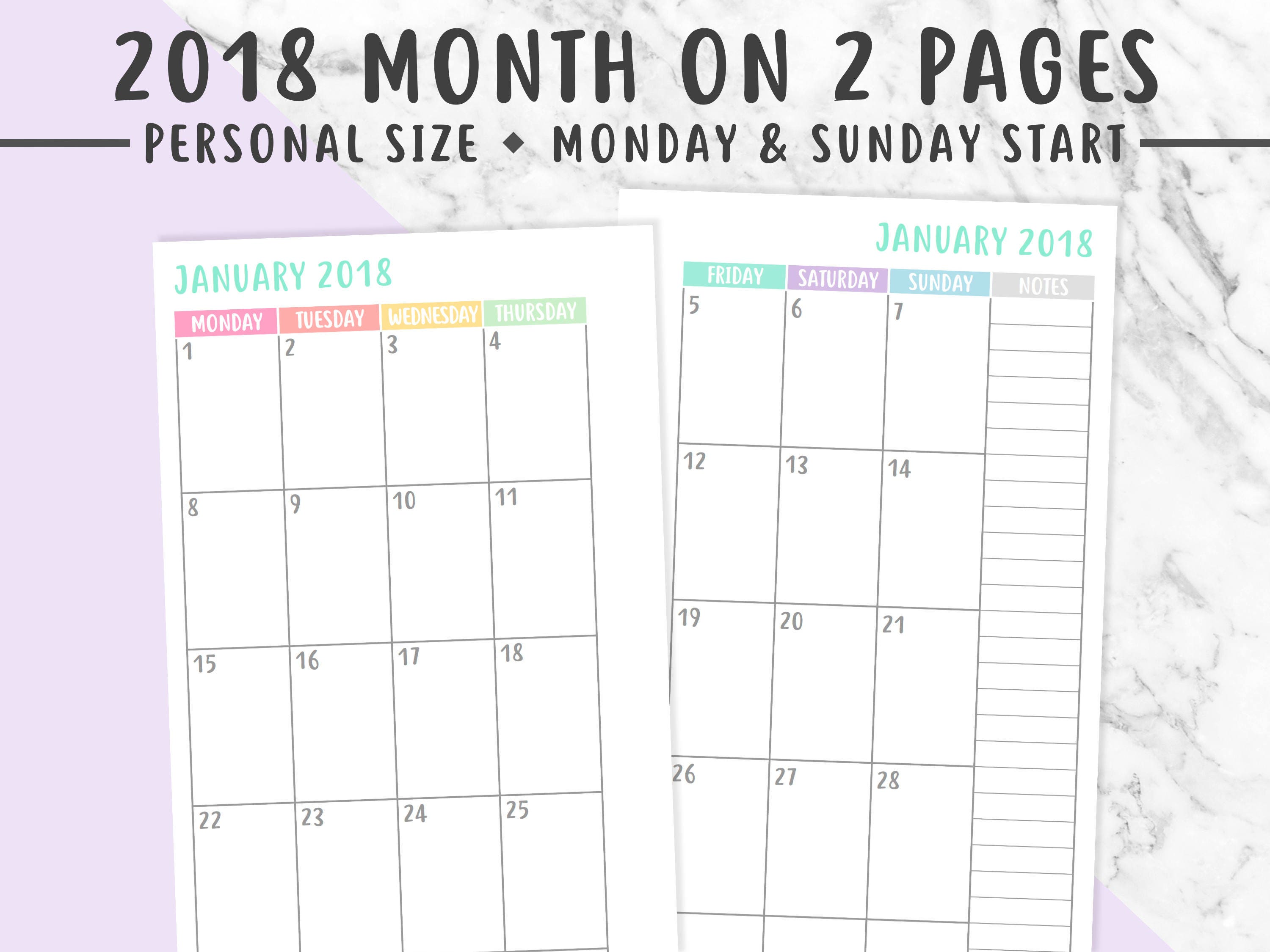 PERSONAL 2018 MONTHLY PLANNER Printable Month On 2 Pages