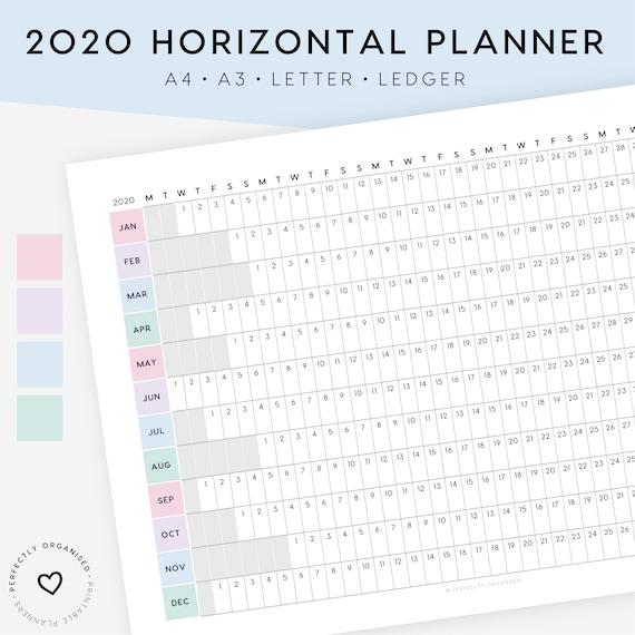 NEW! 2020 Horizontal Planner Printable   2020 Calendar, 2020 Planner, 2020  Overview, 2019 Printable Calendar, A4, A3, Letter, Ledger