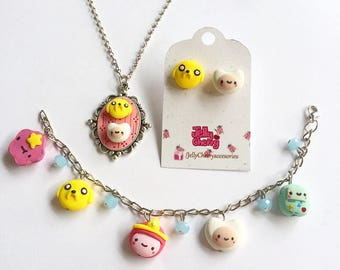 Kawaii Adventure time jewelry set / bracelet / earrings / necklace / Finn the Huaman / Jack the dog