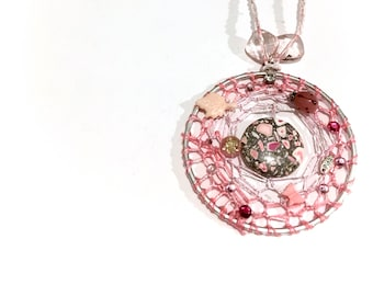 Pink  - Dream Catcher - Pendant - Necklace