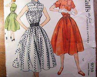 Vintage McCalls Pattern 9759 Dress 3 views 1954 Junior Size 11