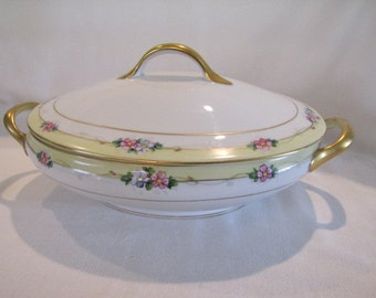 Hand Painted Nippon Covered Casserole or Covered Vegetable Bowl