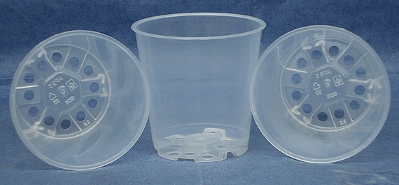 Clear Plastic Teku Pot for Orchids 4 1//2 inch Diameter Quantity 2