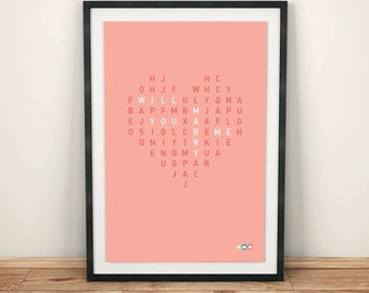 Wordsearch poster / art frame / card - personalised gift - valentines present