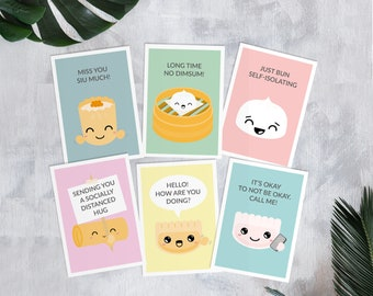 Social distancing greeting cards - friend - cute - funny - puns - well-being