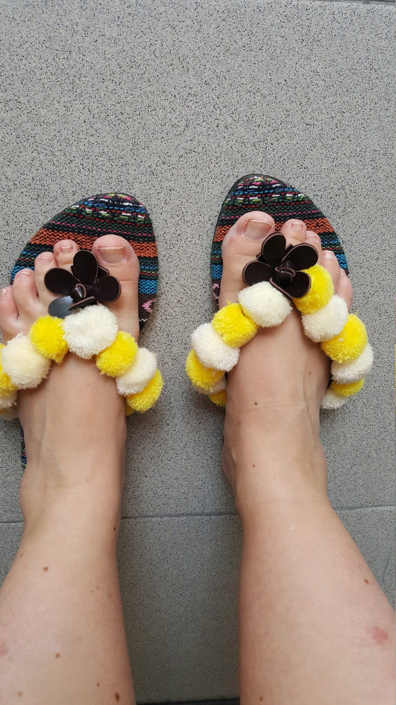 Size 7 USA Size 38 Ethnic sandals with fabric base and pom-poms Ethnic sandals with fabric base and pompoms