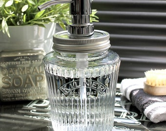 Kilner Vintage Glass Preserve Jar Soap Dispenser with Chrome Pump **UK SELLER**