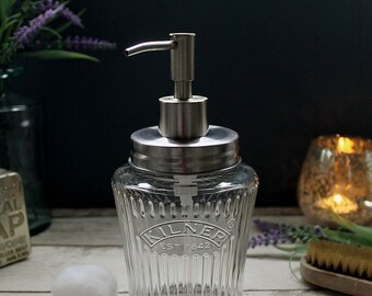 Vintage Kilner Mason Jar Soap Dispenser with Stainless Steel Lid and Pump - *UK SELLER*