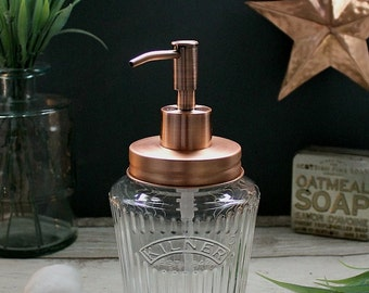 Vintage Kilner Mason Jar Soap Dispenser with Solid Copper Lid and Pump - *UK SELLER*