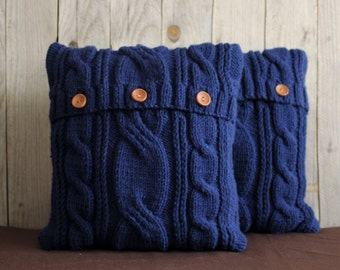 Ink blue color cable knit pillow cover with 3 wooden buttons.