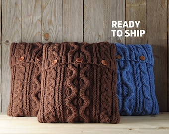 Chocolate brown color cable knit pillow cover with 3 wooden buttons. Ready to ship