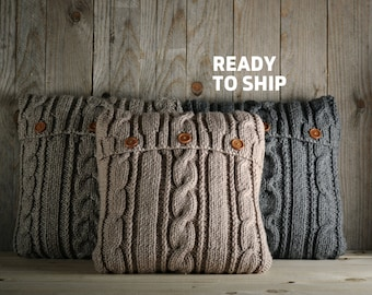 Cappuccino color cable knit pillow cover with 3 wooden buttons. Ready to ship