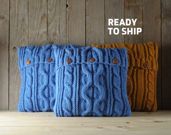 Blue color cable knit pillow cover with 3 wooden buttons. Ready to ship