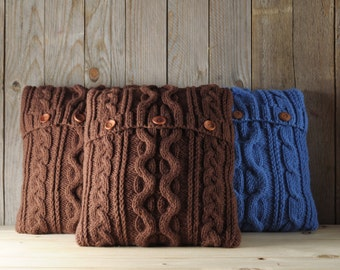 Chocolate brown color cable knit pillow cover with 3 wooden buttons.