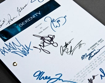 Serenity Film Movie Script with Signatures / Autographs Reprint Joss Whedon Firefly Unique Gift  Screenplay Present TV Fan Geek