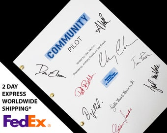 Community TV NBC Sitcom Pilot Script, Screenplay with Signatures, Autograph Reprint - Chevy Chase Joel McHale Alison Brie Gillian Jacobs
