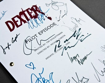 Dexter TV Script with Signatures / Autographs Reprint Unique Gift Present Film Movie Screenplay Geek Michael C Hall