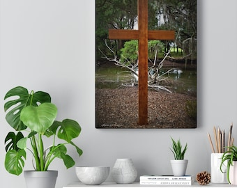 Canvas of Wooden Cross Outside, Meditative Place