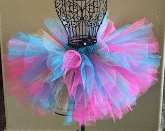 Skirts Trend Mark Orange/hot Pink Shimmer Tutu With Bows