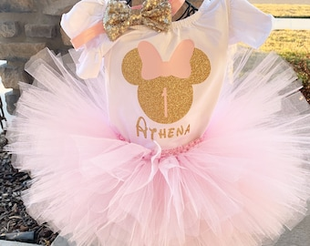 1st First Birthday Light Pink Gold Minnie Mouse Shirt /& Tutu Set Baby Girl Outfit Age  Sequins Cake Smash sq2 Headband Custom Size
