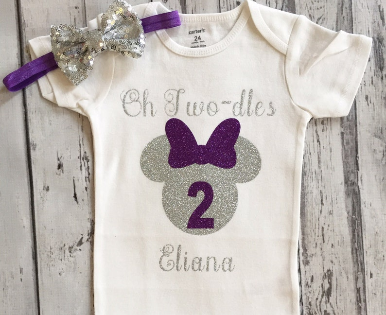 Purple And Silver Oh Twodles Minnie Mouse 2nd Birthday Shirt