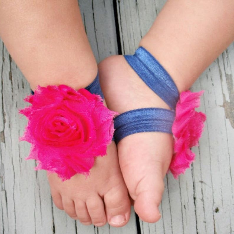 84de16e8512ec Barefoot Baby Sandals Hot Pink and Navy Barefoot Baby | Etsy