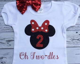 Black and Red Oh Twodles Minnie Mouse 2nd Birthday Shirt, Toodles Birthday Shirt, Oh Twodles, Minnie Mouse 2nd Birthday Outfit, Photo Prop