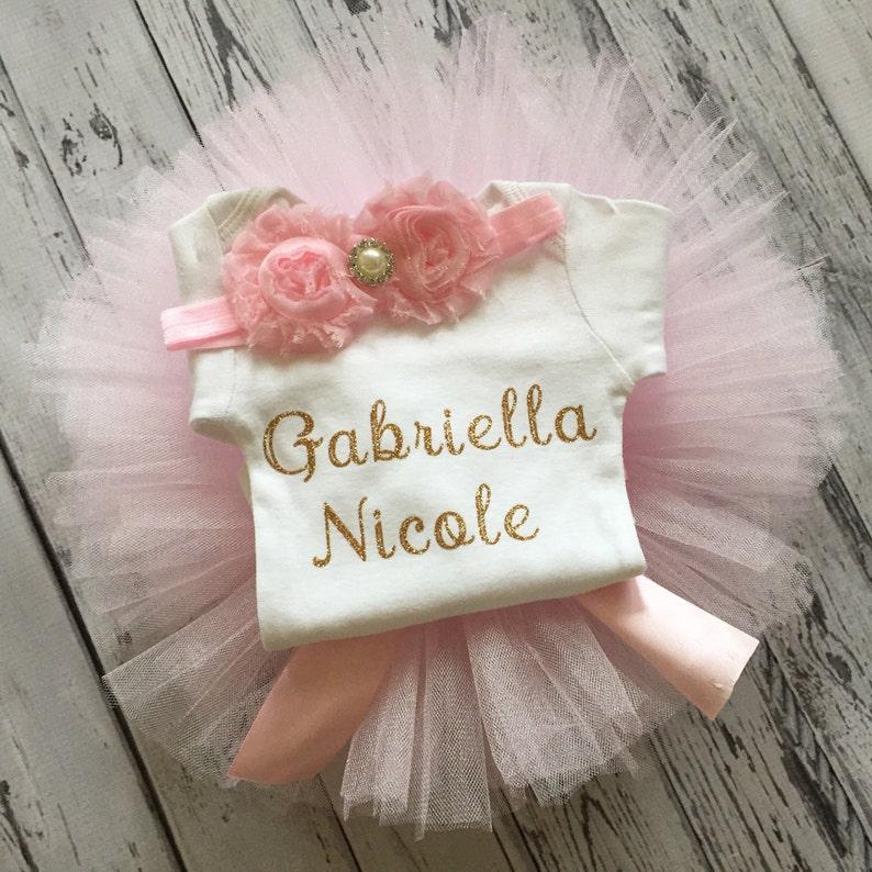 Light Pink Tutu Baby Shower Gift Baby Bodysuit Baby Girl Bodysuit Gold Glitter Personalized Bodysuit /& Tutu Set Baby Take Home outfit