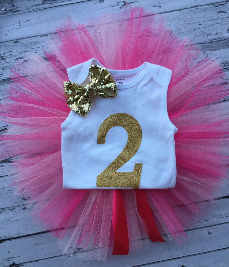 2nd Birthday Pink and Gold Tutu Set Gold Two Bodysuit 2nd Birthday Outfit Hot pink Light Pink Tutu,2nd Birthday Tutu Outfit,Pink Birthday