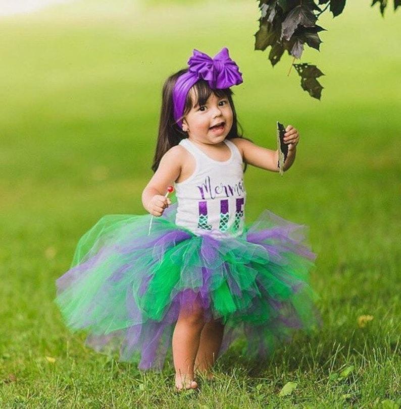 Birthday Tutu Little Mermaid Costume Purple and Green Baby Tutu Mermaid Tutu Toddler Tutu Newborn Tutu Little Mermaid High Low Tutu