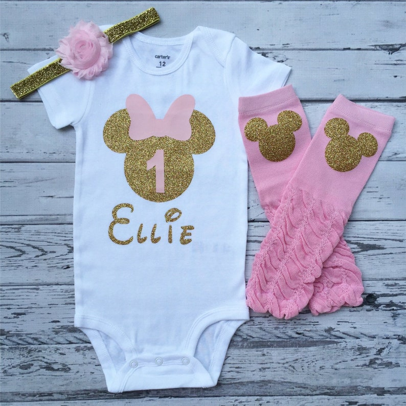 ed55c038d Pink and Gold Personalized Minnie Mouse 1st birthday Bodysuit | Etsy