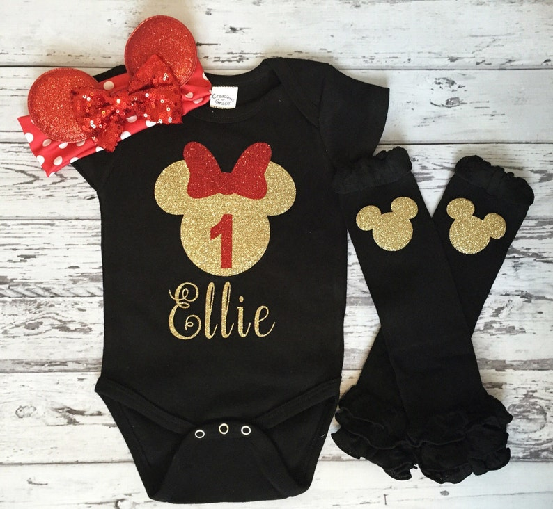daa4176e4 Red and Gold Personalized Minnie Mouse 1st birthday Bodysuit | Etsy