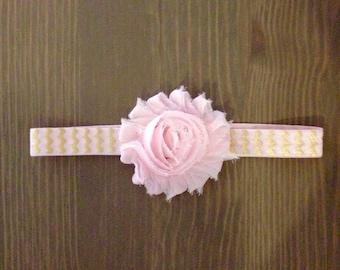 Pink and Gold Shabby Chic Headband, Baby Headband, Chevron Headband, Newborn Headband, Flower Headband, Toddler Headband, READY TO SHIP
