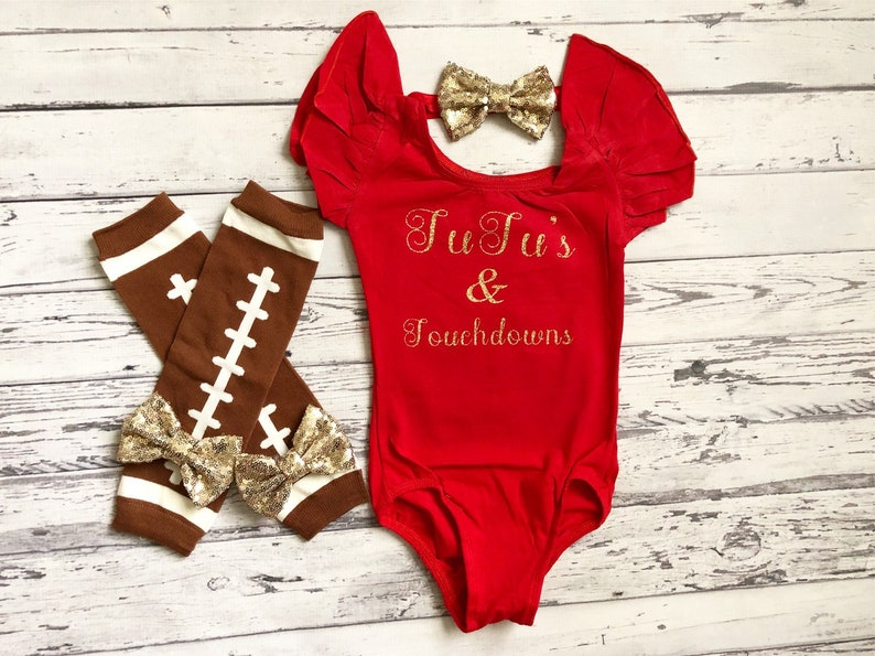 Tutus and Touchdowns Red Flutter Sleeve Leotard Baby Girl Fall Clothes Baby to Toddler Size Toddler Dance Leotard Football Outfit Daughter