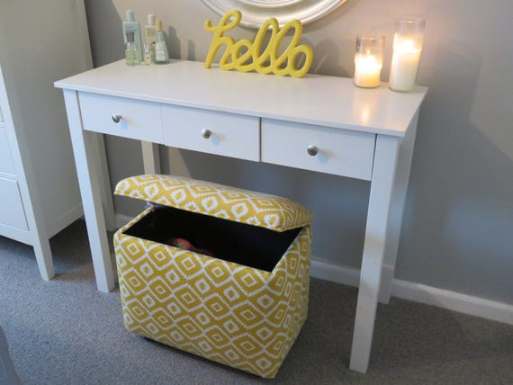new concept fd55d a7230 Handmade Upholstered Dressing Table Storage Stool Ottoman - Made In YOUR  OWN FABRIC