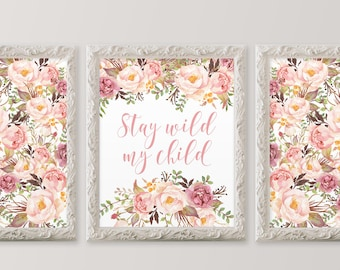 Stay wild my child 11x14 Nursery wall art set of three printables Floral collage art Flower nursery art Girl nursery HEART OF LIFE Design