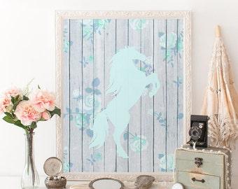 Horse printable art print Horse decor Blue nursery wall art Horse nursery prints Pale blue nursery decor for girl Floral nursery decor art