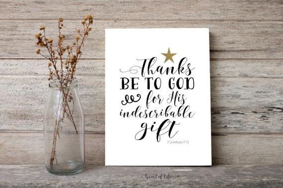 Schrift druckbare Kunst 2 Korinther 9-15 Weihnachten | Etsy