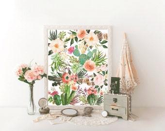 Printable art watercolor flower print Printable art decor Colorful wall decor printable Cactus printable art Floral HEART OF LIFE Design art